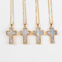 agate cross pendant - Natural Agate Titanium AB Druzy Pendant Bead Gold Plated Cross Shape druzy charm Pendant Necklace NG0394