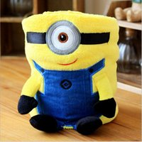 Wholesale 100 BBA466 baby color minions conditioning blanket pillow Despicable me cushion plush toys dolls minion office nap blankets christmas gift
