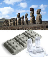 kitchen islands - Easter Island Statues Cake Mold Flexible Silicone Soap Mold For Handmade Soap Candle Candy bakeware baking moulds kitchen tools ice molds