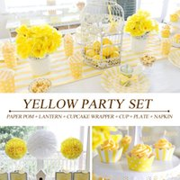 Wholesale PGP Yellow Party Set Paper Pom Lantern Cupcake Wrapper cup Plate napkin for Baby shower Kids birthday Children s Tea Party