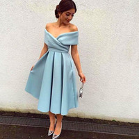 Wholesale 2016 New Tea Length Evening Dresses Simple Sky Blue Off The Shoulder Pleated Satin Zipper Formal Party Prom Bridesmaid Dresses