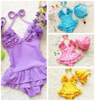 Cheap 2016 Kid Baby Girls One-piece Bathing Swimwear Swimsuit Bikini Dress with Tutu Skirt Bathing Suits Pink Blue Yellow