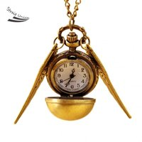 Wholesale 2016 high quality men women Vine Bronze Ball Design Wing Punk Steampunk Quartz Pocket Watch Pendant Chain Necklace
