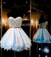 A-Line baby blue homecoming dress - Mini Short Baby Blue Homecoming Dresses Sweet Sweetheart Lace Cocktail Dresses Short Formal Party Gowns With Crystal Beaded Waistband