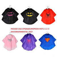 Wholesale 2016 New Kids Rain coat children Hooded Raincoat Superman batman Rainwear Rainsuit Kids Waterproof windproof Fress express