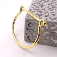 Wholesale Black Punk Screw Love Bangle K Gold Plated Mens Horseshoe Bracelet Couple Jewelry Stainless Steel Charm Cuff Bracelets Bangles