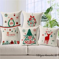 Wholesale 45 cm Christmas Tree Elk Deer Santa Claus Cushion Cover Pillow Case Home Sofa Office Festival Decoration