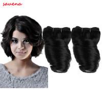 Brazilian Hair Curly Under $50 2017 New 2pcs lot 8Inch Brazilian Fumi Spring Curl Human Hair Weave Ombre Short Big Loosewave 100% Human Hair Extension 50g pc