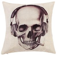 Wholesale Creative Vintage Skull Pattern Linen Cotton Throw Pillow Case Sofa Car Bed Home Decor Cushion Cover