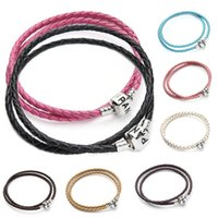 beads leather - 100 Genuine leather Leather Basic Bracelet Bangles Fit Women pandora Charm Bead Bracelet Necklace DIY Jewelry