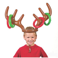 balloon animal hats - Funny Inflatable Balloons Ferrule Toy Reindeer Antler Head Hat Ring Toss Christmas Birthday Party Game Children Kids Christmas Toys ZA1158