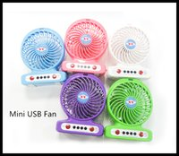 Wholesale Fashion USB Mini Fan Portable Electric Fans LED Portable inch Speeds Rechargeable Fan Desktop Fan Cooling Operated Fan DHL Free