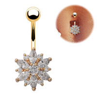 Wholesale 316L Surgical Steel Crystal Rhinestone Belly Button Rings Jeweled Flower Navel Bar Rings Piercing