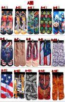 Wholesale 330 Styles D Socks women men superhero hip hop socks D ODD socks cotton skateboard socks printed gun emoji tiger skull socks