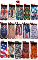 Wholesale 330 Styles D women men superhero hip hop socks D Cotton skateboard sock printed gun emoji tiger skull