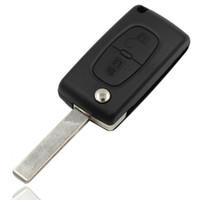 Wholesale 2 Buttons Flip Folding Fob Key Case Blank Shell Cover For Citroen C2 C5 C3 C4 C6 C8 CE0523