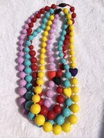 Wholesale Silicone Teething Necklace Baby Beads Necklace Heart Beads Necklace Silicone Necklace Teeth Colorful Necklace