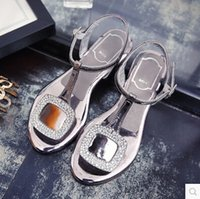 Wholesale Summer lady toe Europe MB Rhinestone Buckle satin shoes buckle sandals shoes wedding shoes