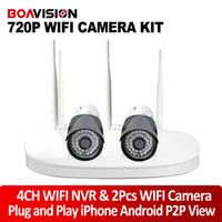 Wholesale 2 Channel Wifi Camera NVR Kit Security Surveillance System With P WiFi IP Camera Outdoor NightVision Support P2P View Plug and Play