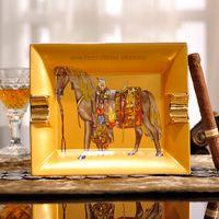 Wholesale Porcelain fashion ashtray bone china Square horse design outline in gold shape cigar ashtray cigarette decoration gift luxury gift
