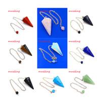 amulet silver - Hypnosis pendulum Reiki Chakra Chain Gem Stone Pendant Awl Mascot Accessories Charms Healing Amulet Jewelry