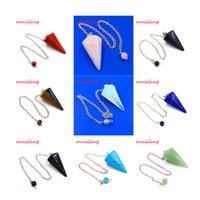 accessories mascots - musiling Jewelry Hypnosis pendulum Reiki Chakra Chain Gem Stone Pendant Awl Mascot Accessories Charms Healing Amulet Jewelry