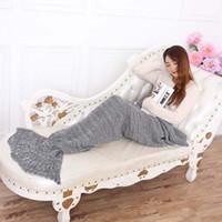 Wholesale Sleeping Blanket cmYarn Knitted Mermaid Tail Blanket Handmade Crochet Mermaid Blanket Kids Throw Bed Wrap Super Soft Free Color