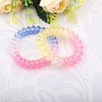 Wholesale 5 cm Clear Candy Color Telephone Wire Line Cord Invisi Bobble Traceless Hair Ring Elastic Hair Band Hair Scrunchy