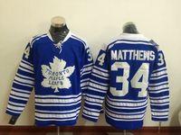 apparel new collection - Maple Leaf Matthews Winter Classic Blue Hockey Jerseys New Hockey Uniform Men Hockey Apparel New Collection Ice Hockey Wears