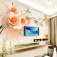 Wholesale modern wallpaper d wall painting background photography Silk Rose Art Dining room hotel badroom wall mural for living room home decor
