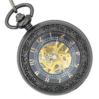 beautiful watch hands - Top famous Black Mechanical pocket watches crystal high quality movements hand wound beautiful pocket watch for sell