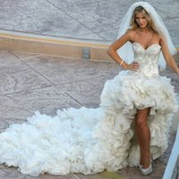 Sweetheart asymmetrical skirts - Custom Sweetheart Luxury High Low Chapel Train Crystals Organza Wedding Dress vestidos de noiva Bridal Wedding gowns