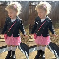 Wholesale Cool Jacket Designs - Baby Girl's Motorcycle Jackets Black Red PU Leather Coat Bike Blazer Cool Outwear Hot Sale Kids Brand Design Swagger