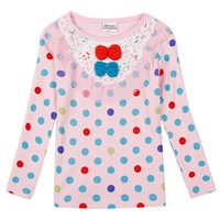 Wholesale New Fashion Hot Pink Cotton Girls Clothing Shirts One piece Long Sleeved Shirts Lolita Style Flower Prints For School For Choose S L