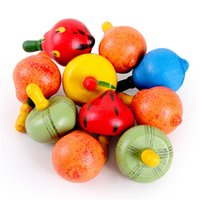 Wholesale Mini Spinning Top Colorful Wooden Toys for Baby Children Kids Playing