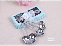 Wholesale 4Pc Set hot sale Heart Shaped Stainless Steel Coffee Tea Measuring Spoons Kitchen Tool wedding favors and gifts Party