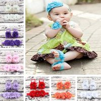 Summer baby trial - Trial Order Barefoot Baby Sandals Matching Triple Chiffon Flower Headband colors