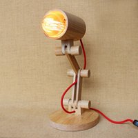 Wholesale modern lovely style nature wooden base swing arm desk lamp table lamp for bedroom study bar coffee