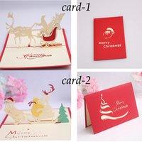 Wholesale 10pcs D Christmas card Christmas snowmobile card Christmas deer car card Creative Ferris wheel D Christmas card Christmas gift cards