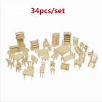 Wholesale 34 set Furniture assembly sylvanian families miniature chair miniature dollhouse furniture accessories Develop intelligence DIY
