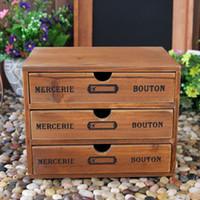 Wholesale AIBEI Zakka Wooden Storage Drawers Layers Retro Mercerie Bouton Make up Jewelry Sundries Storage Box cm
