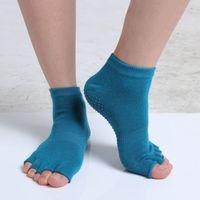 Wholesale High Quality Women Half Toe Yoga Socks Non Slip Peep Toe Durable Pilates Socks Professional Girls Sports Fingers Socks MD0020 smileseller