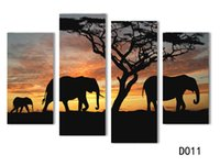 Wholesale 5 Ppcs Sunset Elephant Painting Canvas Wall Art Picture Home Decoration Living Room Canvas Print Modern Painting Large Canvas H