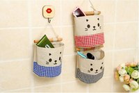 Fabric Food Folding Beautiful Cartoon Cat Multifunctional Storage Bag Fashion Organizer Hanging Storage Pouch Bags Case for Door Bathroom