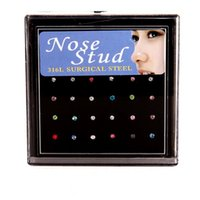Cheap 24pcs set Nose Ring Fashion Body Jewelry Nose Stud Rhinestone 316L Stainless Surgical Steel Nose Piercing Crystal Stud ak107