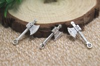 axe charm - 30pcs axe Charms Antiqued Silver Tone sided axe charm pendants x10mm