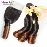 Cheap Top 8a Malaysian funmi hair with closure colour 1b 4 spring curl ombre hair extensions with closure free shipping ombre closure