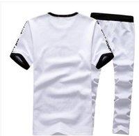 Wholesale M XL mens tracksuit set summer crewneck sport tracksuits men brand short sleeve sweat suit D0163