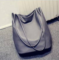 Wholesale 2016 Designer Women Leather Handbags Black Bucket Shoulder Bags Ladies Cross Body Bags Large Capacity Ladies Shopping Bag Bolsa