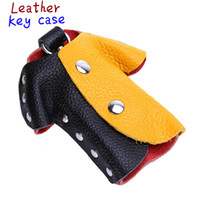 Wholesale Mixed color distribution leather key bag and waist bag Leather padlock color creative small clothes Keychain key bag